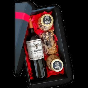 Caja de vino y sales