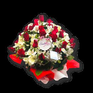 Ramo de rosas y astromelias