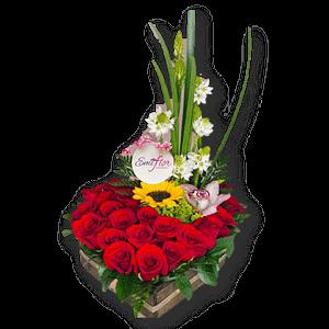 Rosas y girasoles