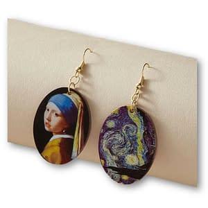 Aretes asimétricos Van Gogh y Vermeer