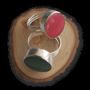 Anillo de plata botón