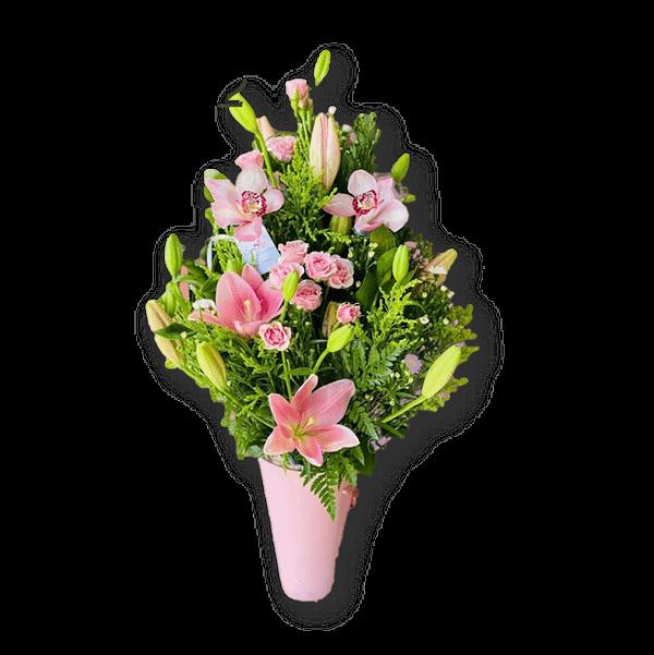 lirios rosas y orquídeas